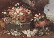 Jan Van Kessel Still life of various flwers in a basket,tulips in a copper pot hortensias,asparagi and artichokes laid out on the ground,together with an owl,butterf