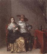 Laurentius de Neter An interior with a soldier makng advances to a lady,deside a table draped with a red cloth,with a pewther jug and an upturned roemer on a pewter dish oil painting artist