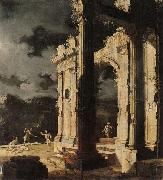 Leonardo Coccorante An architectural capriccio with figures amongst ruins,under a stormy night sky