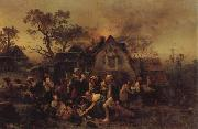 Ludwig Knaus A Farm Fire oil painting