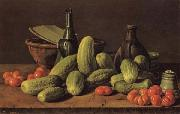 Luis Menendez Still Life with Cucumbers and Tomatoes oil painting artist