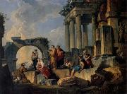 Panini, Giovanni Paolo Ruins with Scene of the Apostle Paul Preaching oil painting reproduction