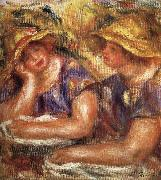 Pierre Renoir Two Women in Blue Blouses oil painting reproduction