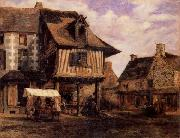 Pierre etienne theodore rousseau A Market in Normandy oil painting