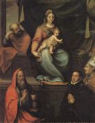 The Holy Family,with SS.Ildefonsus and john the Evangelist,and the Master Alonso de Villegas, Prado, Blas del