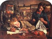 Robert Braithwaite Martineau Kit's First Writing Lesson oil painting