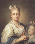 Rosalba carriera Self-portrait with a Portrait of Her Sister oil painting