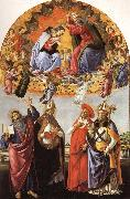 The Coronation of the Virgin with SS.Eligius,John the Evangelist,Au-gustion,and Jerome, Sandro Botticelli