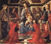 The Madonna and Child Enthroned,with SS.Mary Magdalen,Catherine of Alexandria,John the Baptist,Francis,and Cosmas and Damian, Sandro Botticelli