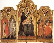 Spinello Aretino Madonna and Child Enthroned with SS.Paulinus,john the Baptist,Andrew,and Matthew oil painting