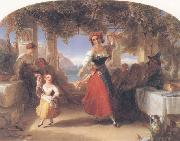 Thomas Uwins A Italian Mother Teaching her child the Tarantella oil painting