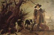 WILDENS, Jan A Hunter with Dogs Against a Landscape