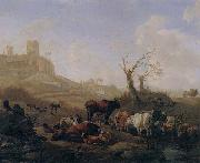 William Romeyn Cattle and sheep by a stream in a pasture,a town beyond oil painting