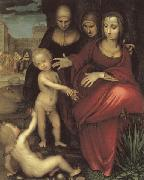 YANEZ DE LA ALMEDINA, Fernando St.Anne,the Virgin;St Elizabeth,St,john,and the Christ Child oil painting