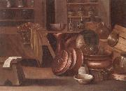 A Kitchen still life of utensils and fruit in a basket,shelves with wine caskets beyond, unknow artist