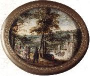 A landscape with elegant figures promenading before a lake,a castle beyond, unknow artist