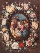 unknow artist The nativity encircled by a garland of flowers oil painting on canvas