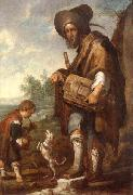 A Blind man playing a hurdy-gurdy,together with a young boy playing the drums,with a dancing dog, unknow artist