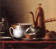 unknow artist Still life of a chocolate pot,teapot,sucrier,bowl,teajar,tea cups and saucers,and silver spoons,all upon a draped table top oil painting reproduction