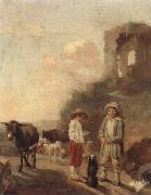 A landscape with young boys tending their animals before a set of ruins, unknow artist