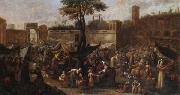 A market scene before the walls of a city, unknow artist
