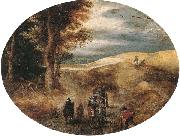 A Hilly landscape with a Horse-Drawn cart and other, unknow artist