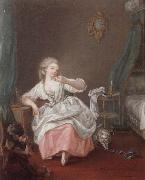 A bedroom interior with a young girl holding a song bird, unknow artist