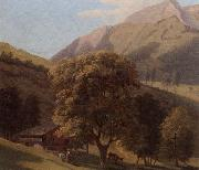 A mountainous landscape with a maid before a chalet in a valley, unknow artist