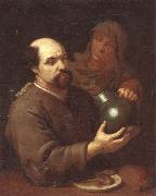 A man seated at a table holding a flagon,a servant offering him a glass of wine, unknow artist