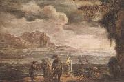 A coastal landscape with fishermen drawing in their nets, unknow artist