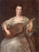 unknow artist Portrait of a young lady,three-quarter length,wearing a floral and ivory lace-trimmed dress,playing the guitar