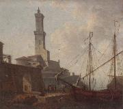 A Port scene with figures loading a boat, unknow artist