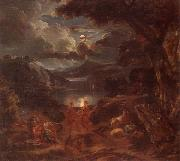 A pastoral scene with shepherds and nymphs dancing in the moonlight by the edge of a lake, unknow artist