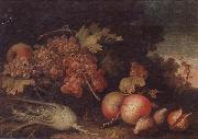 unknow artist Still lifes of Grapes,figs,apples,pears,pomegranates,black currants and fennel,within a landscape setting