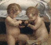 Danae,Detail of the two cupids, Correggio