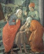 Fra Filippo Lippi Details of St John beids farewell to his parents oil painting reproduction