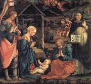 Fra Filippo Lippi The Adoration of the Infant Jesus with St George and St Vincent Ferrer oil painting on canvas