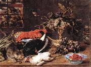 Frans Snyders Hungry Cat with Still Life oil painting reproduction