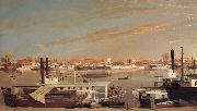George Tirrell View of Sacramento,California,From Across the Sacramento River oil painting artist