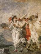 Giambattista Tiepolo Pulcinella in Love oil painting reproduction