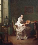 Jean Baptiste Simeon Chardin Lady with a bird-organ oil painting on canvas