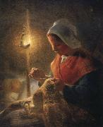Jean Francois Millet Woman sewing by lamplight oil painting