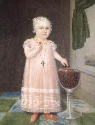 Johnson Joshua Little Girl in Pink with Goblet Filled with Strawberries:A Portrait oil painting reproduction