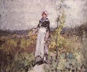 French peasant Woman in the Vineyard