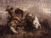 Nicolae Grigorescu Dragos Fighting the Bison oil painting