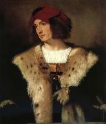 Titian Portrait of a man in a red cap oil painting on canvas