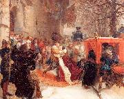 Adolph von Menzel Gustav Adolph Greets his Wife outside Hanau Castle in January 1632 oil painting reproduction