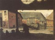 Cornelis van Dalem Farmyard with a Beggar (mk05) oil painting