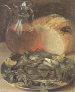 Still Life with Fish and a Flask of Wine (mk05), Georg Flegel