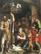 The Nativity and Adoration of the Shepherds in the Distance the Annunciation to the Shepherds (mk05), Giulio Romano
